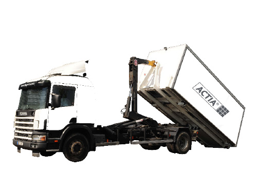Mobiles prufstrassen system, mobile stationen LKW, Ampli-roll, ACTIA Automotive.